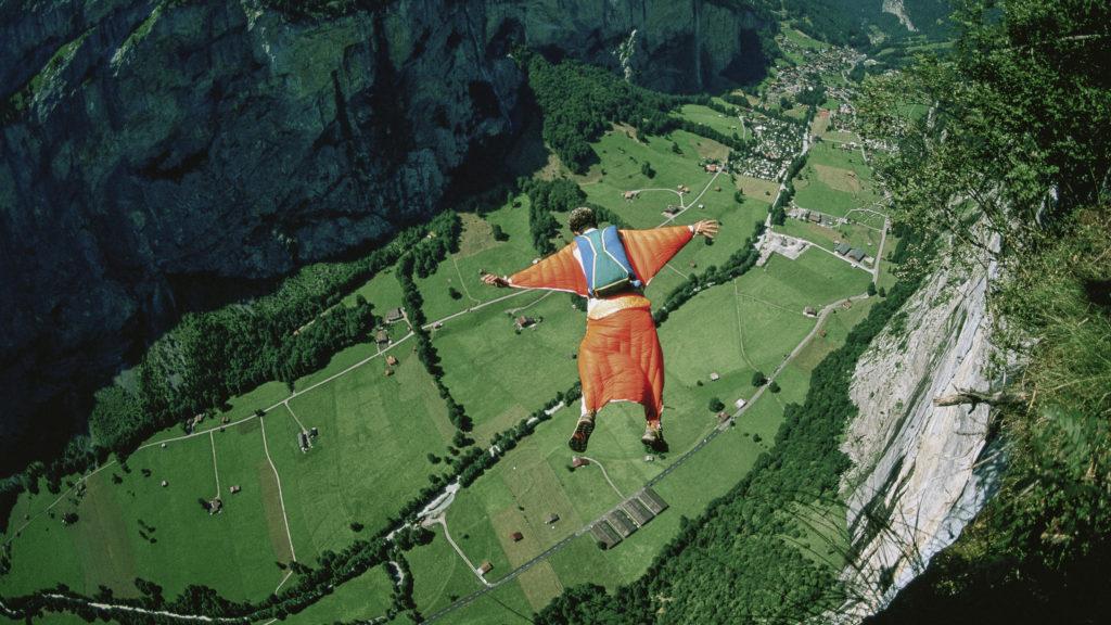 Jean Noel Itzstein BASE jumping (Photo by Olivier Renck/Cavan Images.)