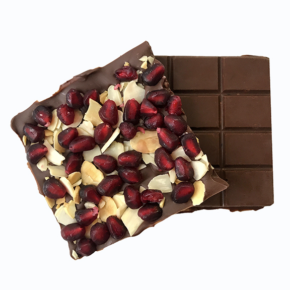 pomegranate almond chocolate bar