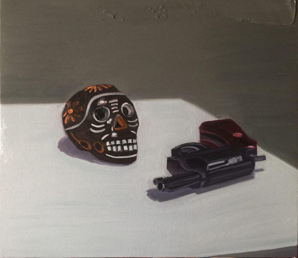 Salomón Huerta Gun with skull